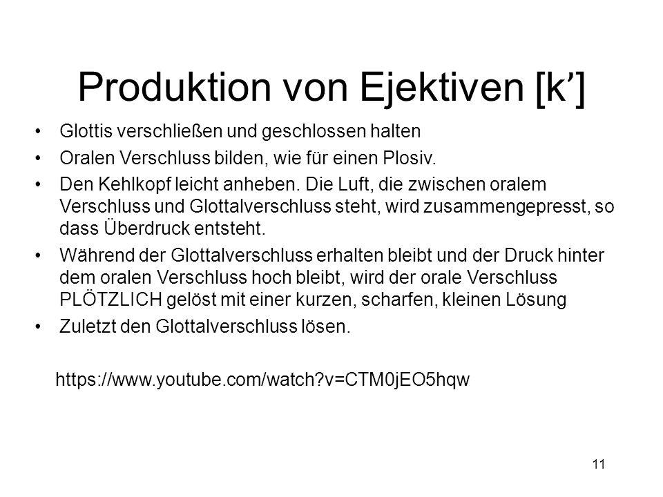 Produktion von Ejektiven [k']